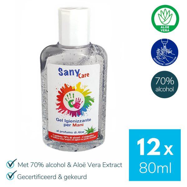 Grote bulk verpakking van 12 flessen 80ml desinfecterende handgel met anti-bacteriële eigenschappen, Aloë Vera extract en 70% alcohol